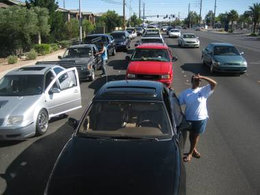 Hundreds of motorists waited in vain for free gas.