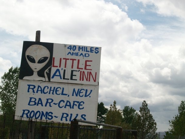 A sign at the beginning of the Extraterrestrial Highway.