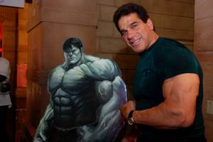 Lou Ferrigno, right, and his onetime alter-ego.