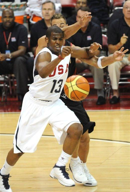 Chris Paul cuts through the Canadian defense during Team USA practice in this file photo.