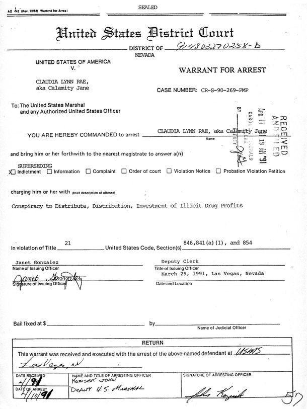 Calamity Jayne was arrested on April 10, 1991, as shown in this warrant.