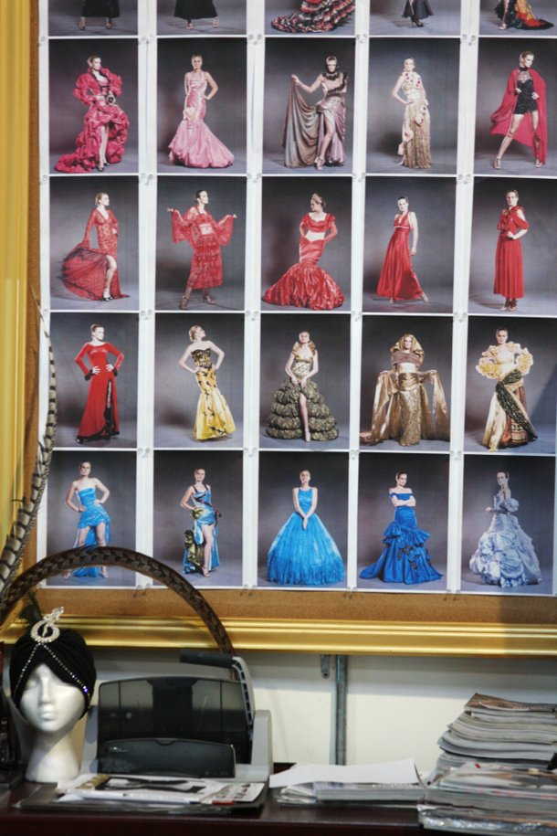 A grid of photographs displays the dresses Fuchs may use in her October 14 fashion show.