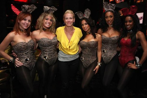 Chelsea Handler with Playboy Bunnies at The Playboy Club in the Palms.