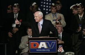 John McCain warms up the crowd of disabled veterans Saturday, Aug. 9, 2008,