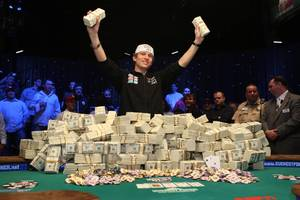 Peter Eastgate of Denmark celebrates after winning $9.15 million during the 2008 World Series of Poker at The Rio on Nov. 11.