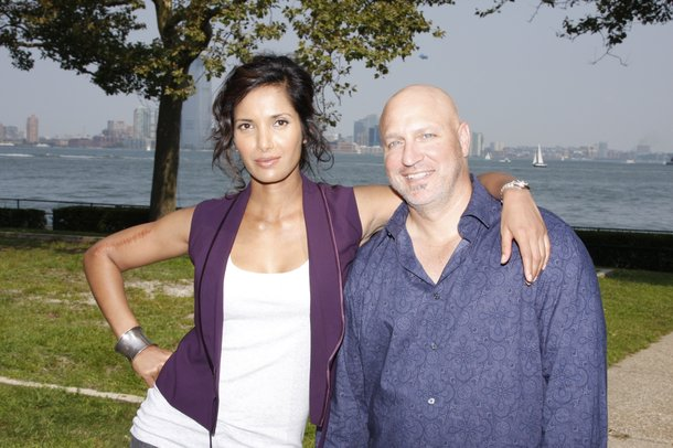Padma Lakshmi and Tom Colicchio of Bravo's Top Chef. They look friendly enough until it's