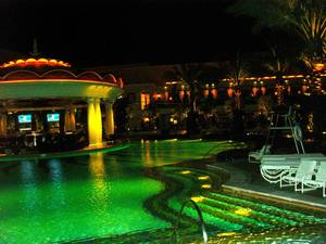 The XS pool at night.