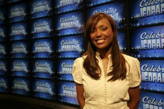 The new set of the game show 'Jeopardy!' debuted at CES. The set includes 36 new high-def Sony televisions and one original Alex Trebek. Aisha Tyler, one of the celebrity contestants, poses for a portrait.
