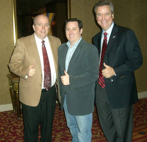 From left, Miss America Organization President and CEO Art McMaster, TLC's Brent Zacky and Miss America Organization Chairman Sam Haskell III.