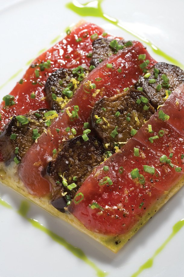 Carpaccio made with ahi tuna on a clever tart constructed from eggplant.