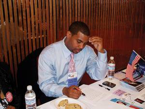 Horsford before a speech at the Nevada State Democratic Convention in 2008.