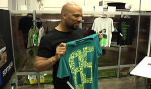 Common stopped by the Microsoft Softwear booth at MAGIC Wednesday morning to show off his new designs with the line. He partnered with Microsoft in December to design vintage-inspired tees that tap into the nostalgia of the earliest computer.
