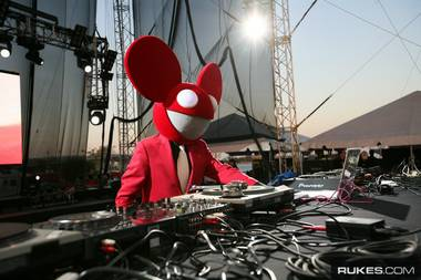 Deadmau5 spinning at the 2008 Ultra Music Festival, an outdoor electronic music fest held in conjunction with WMC.