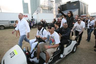 RICHARD BRIAN/STAFF PHOTO.Members of the The Black Eyed Peas before their performance at Ultra Music Festival at Bicentennial Park on March 27, 2009 in Miami.