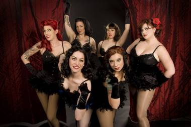 The luscious ladies of the Babes in Sin burlesque troupe.