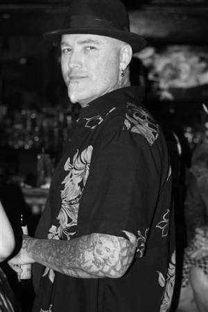 Punk rocker and tattoo artist Dick Vermin at Frank's Tiki Room.