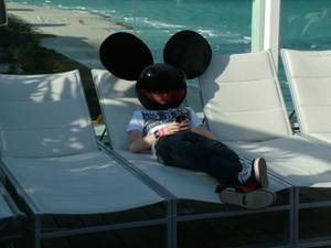 Deadmau5 chills at Ultra's rooftop pool party in Miami during WMC 2009.