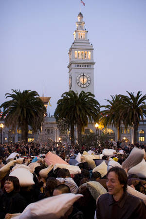 The sweet sight of flying pillows in San Francisco in 2008.