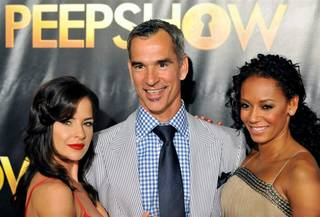 Kelly Monaco, Jerry Mitchell and Mel B at the premiere of Peepshow in Planet Hollywood.