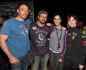 Ben Affleck, Joe Reitman, Sarah Silverman and Annie Duke.
