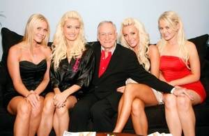 Crystal Harris, Holly Madison, Hugh Hefner and friends Melissa Taylor and Ana Berglund.