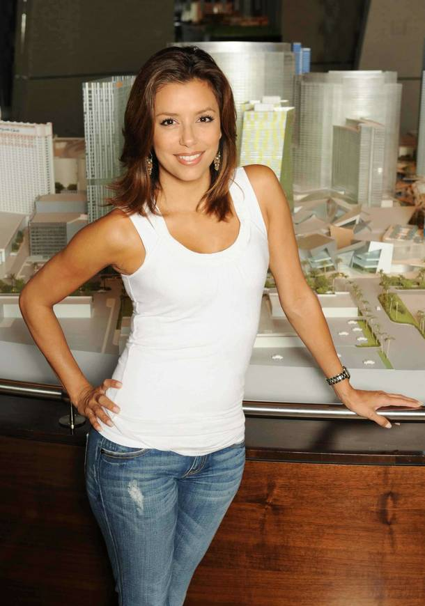 Eva Longoria Parker stands in front of a model of CityCenter on July 21, 2009.