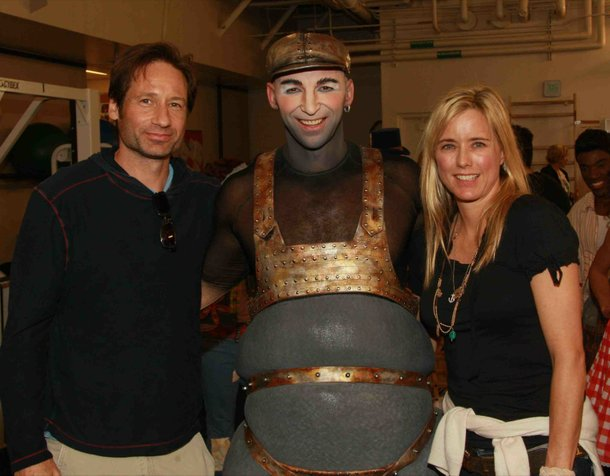 David Duchovny and Tea Leoni flank Love cast member Valeriy Kharun.