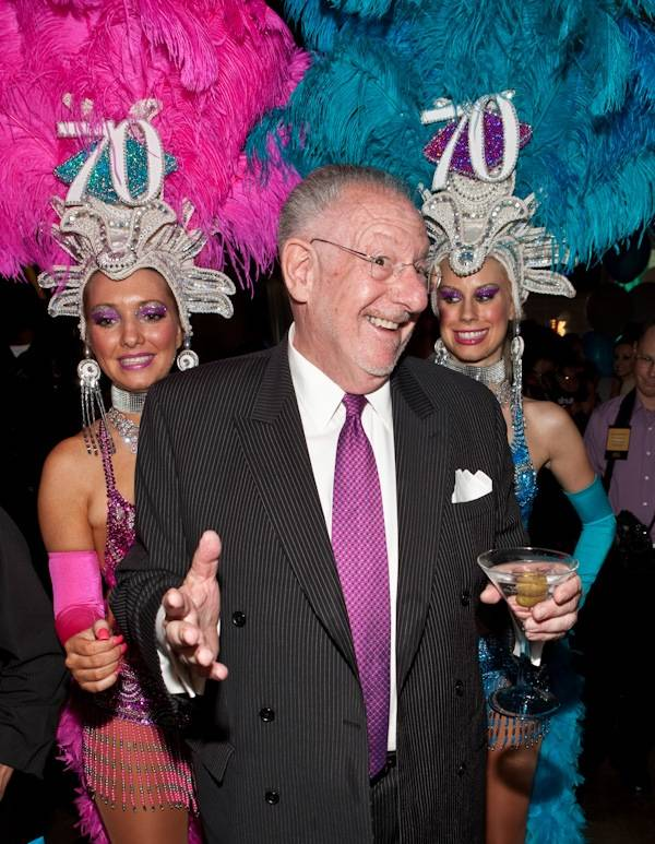 Mayor Oscar Goodman and showgirls at his 70th birthday celebration at the Golden Nugget on July 31.