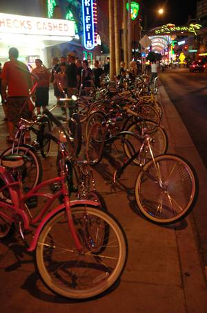 Hammer & Cycle meets once a month to ride custom bicycles in downtown Las Vegas.