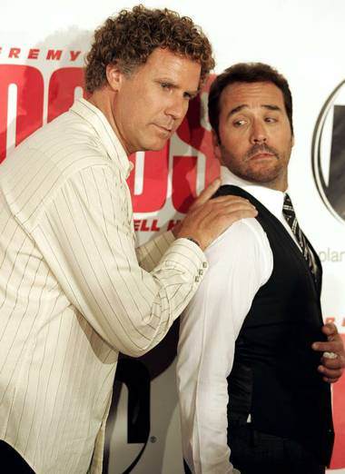 Actors Jeremy Piven and Will Ferrell pose on the red carpet during the Las Vegas premiere of The Goods at Planet Hollywood on Wednesday.