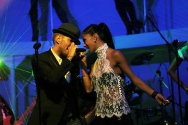 Matt Goss and Nicole Scherzinger at The Gossy Lounge in the Palms.