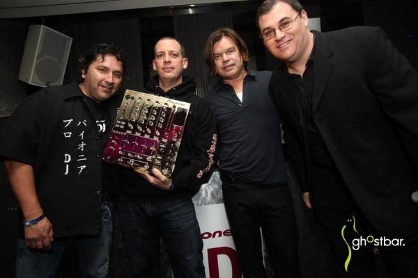 From left to right: Pioneer's Karl Detken, Z-Trip, Paul Oakenfold and DJ Times Editor-in-Chief Jim Tremayne.