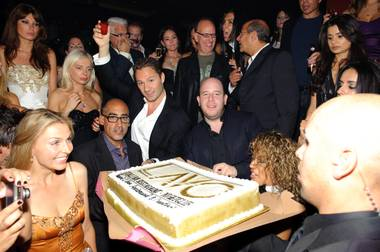 Tao and Lavo partners Lou Abin, Jason Strauss and Noah Tepperberg (front) celebrate the club and restaurants' anniversary weekend with partners Rich Wolf and Marc Packer (behind) on October 3, 2009.