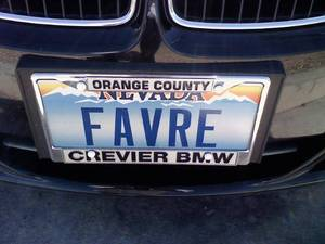 Favre license plate.