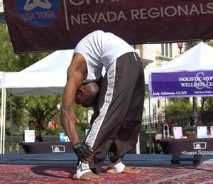 Extreme back bend at the Nevada Regionals yoga competition.