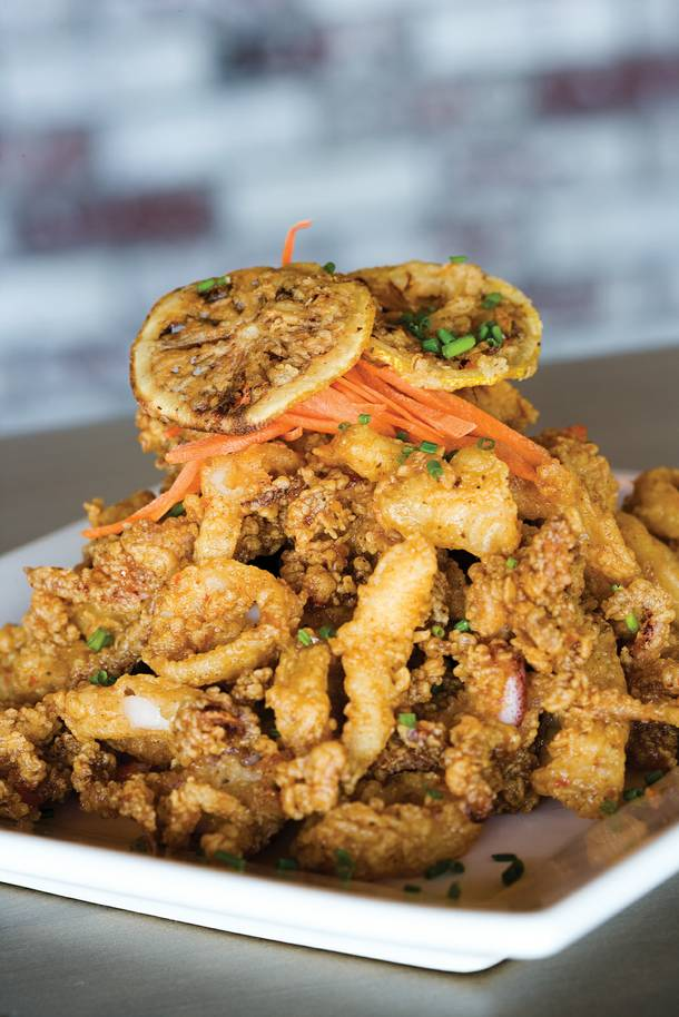 Grind's take on fried calamari with sweet hot Asian-style sauce