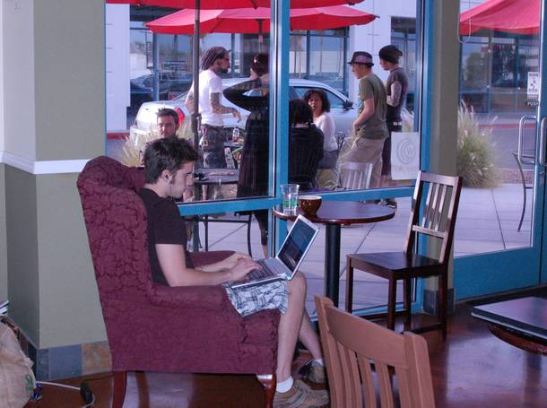 At Sunrise Coffee customers can enjoy organic treats and free internet access.