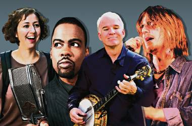 Hypothetical Comedy Festival: (left to right) Kristen Schaal, Chris Rock, Steve Martin and Mitch Hedberg