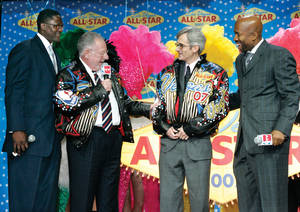 Rory Reid (right) with Mayor Oscar Goodman at the NBA All Star Game logo unveiling.