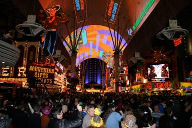 About 30,000 partiers filled the Fremont Street Experience to ring in 2010.