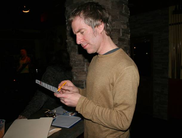 James Woodbridge observes a ballot during Wednesday's listening party.