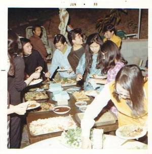 "Some of ""the pioneers"" sharing a Thai meal in June 1969."