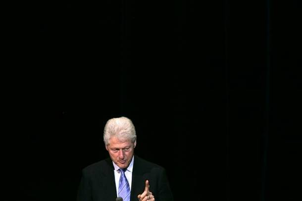 Former President Bill Clinton speaks to Harrah's employees at the Colosseum at Caesars Palace in Las Vegas Monday, Feb. 22, 2010.
