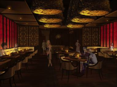 A rendering of the completed Social House dining room, opening in early summer 2010 at Crystals.