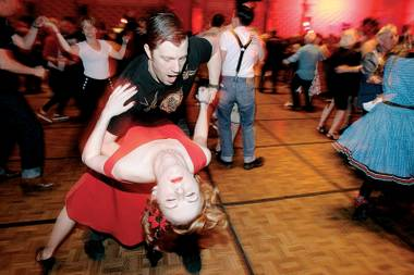 How low can you go? Sarah Kobus and Rob Nixon of Nashiville dance during Viva Las Vegas Rockabilly Weekend at The Orleans Hotel Friday, April 2, 2010.