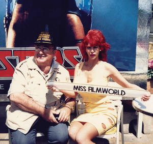 Annie Ample at the Cannes Film Festival with movie producer John Harris in 1982.