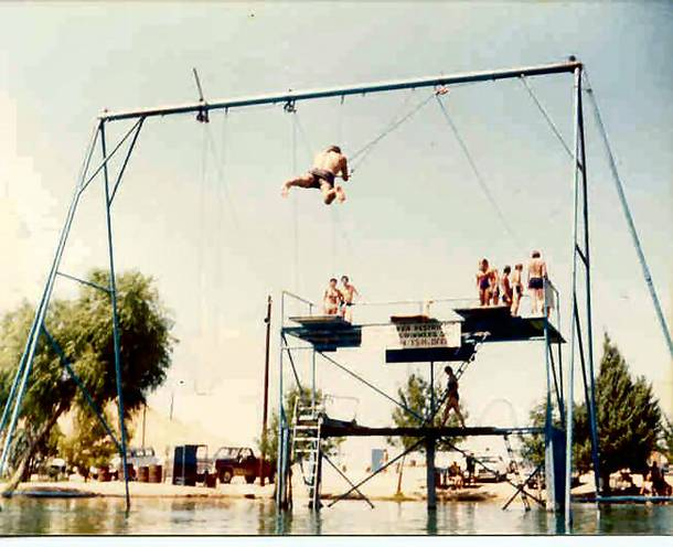 Trapeze swings at Lake Dolores in the 1970s.