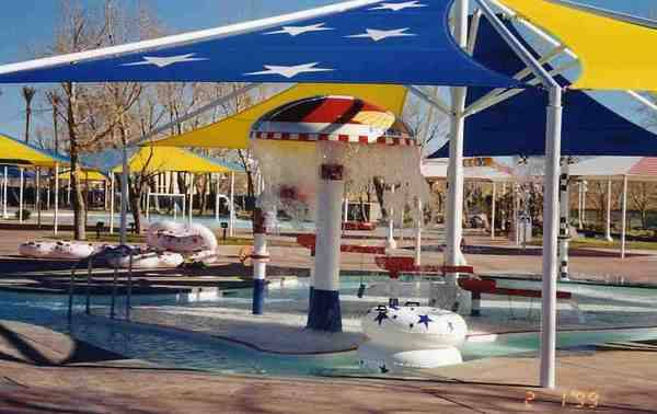 Mushroom-shaped waterfalls in 1999 at Rock-A-Hoola.
