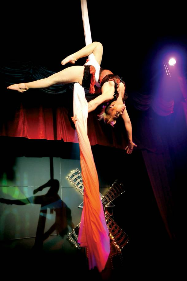 An aerialist performs during Moulin Rouge 2 at Krave