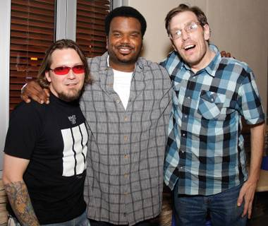 Weren't you in Knocked Up? Fryer's Club founders Todd Paul (left) and Geechy Guy (right), with Craig Robinson.